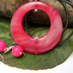 Agat w kolorze fuksji, wisior i kolczyki