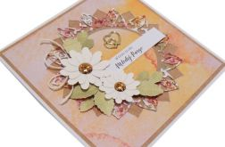 Kartka ślubna białe kwiaty i żółte tło