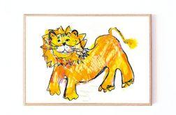 lew ilustracja dla dzieci oprawiona 21x30