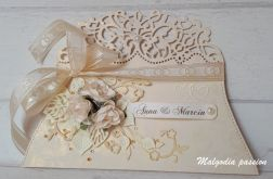Kartka kopertówka ślubna złoto-kremowa