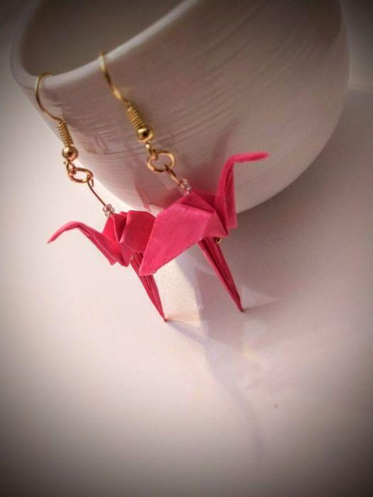 Kolczyki origami flamingi - Z boku