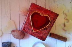 świecznik szklany malowany serce