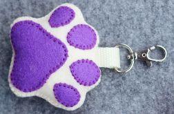 Brelok Psia łapka fioletowa z imieniem psa
