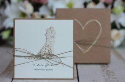 Rustykalna kartka ślubna z pudełkiem 19