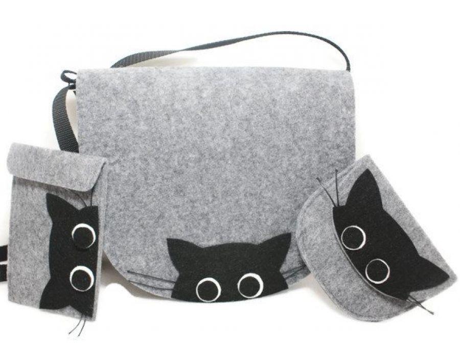 Zestaw torebka z portfelikiem i etui koty
