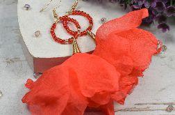 Długie kolczyki kwiaty, makowa czerwień