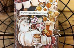 Jesienna nastrojowa kartka z jeżem