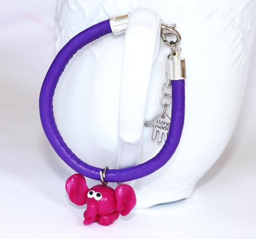 Bransoletka fioletowa ze słonikiem