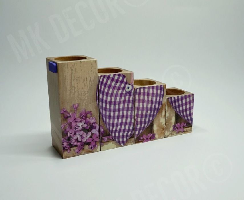 Komplet 4 świeczników drewnianych - SERCE