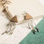Drewniane kolczyki ze strunami - drewniana biżuteria