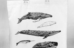 Wieloryby - torba bawełniana z nadrukiem