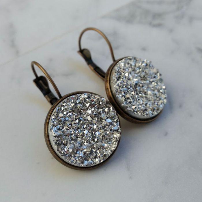 Kolczyki z druzami srebrnymi -