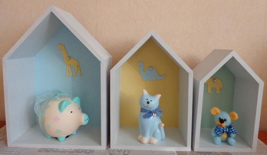 Domek z dinozaurem - Zestaw trzech domków - propozycja dekoracji
