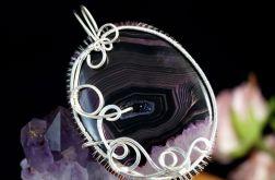 Srebrny wisior z plastrem czrnego agatu
