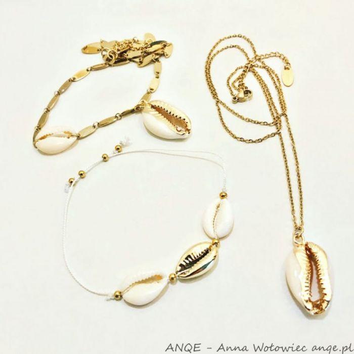 Bransoletka sznurek i Muszelki Kauri - model1