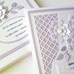 Kartka ŚLUBNA biało-fioletowa #1 /Z - Biało-fioletowa kartka na ślub w pudełku
