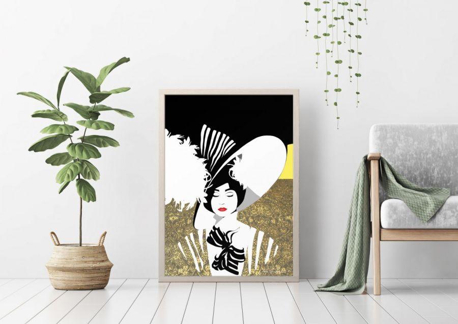 Dama w kapeluszu, autorski plakat, sygnowany - Idealny plakat do nowoczesnych wnętrz