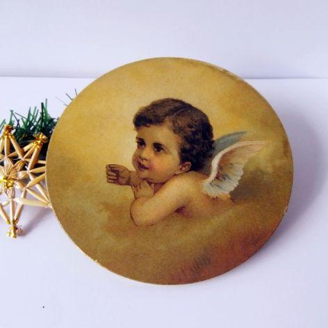 Okrągły obrazek z aniołkiem