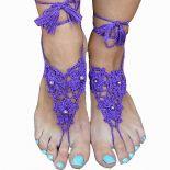 Rzymskie sandałki-ozdoba na stopy fioletowe-lila