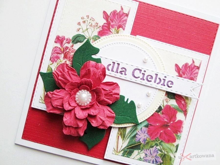 Kartka URODZINOWA - z czerwonym kwiatem - Czerwono-zielona kartka urodzinowa