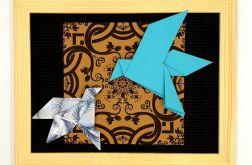 Obrazek origami wiszący drewniana ramka Ptaki