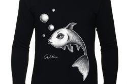 Ryba - długi rękaw męska - Czarna