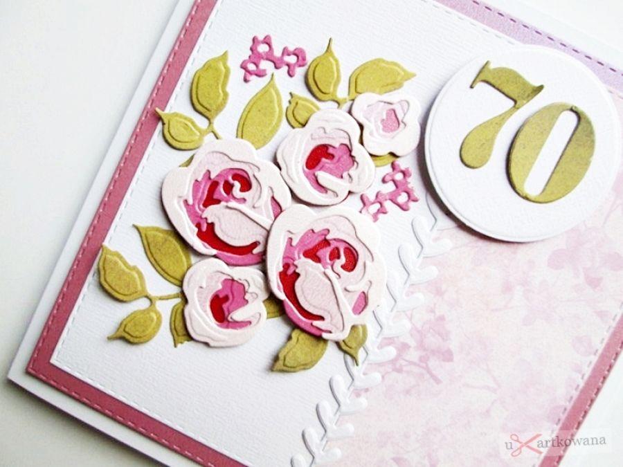 Kartka NA URODZINY cieniowane róże - Urodzinowa kartka z różami