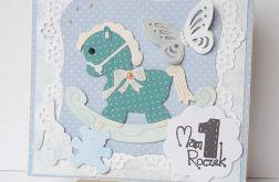 Kartka na roczek z konikiem turkusowym