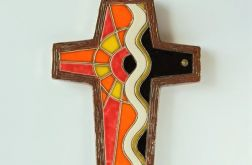 Krzyż ceramiczny pomarańczowy