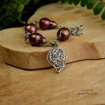 Bransoletka regulowana brązowe perły barokowe - W całości ze stali chirurgicznej