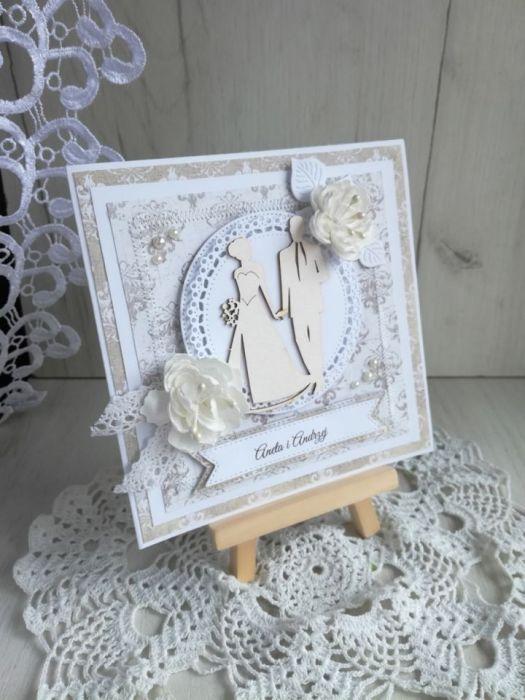 Kartka ślubna 3D biało kremowa na ślub GOTOWA