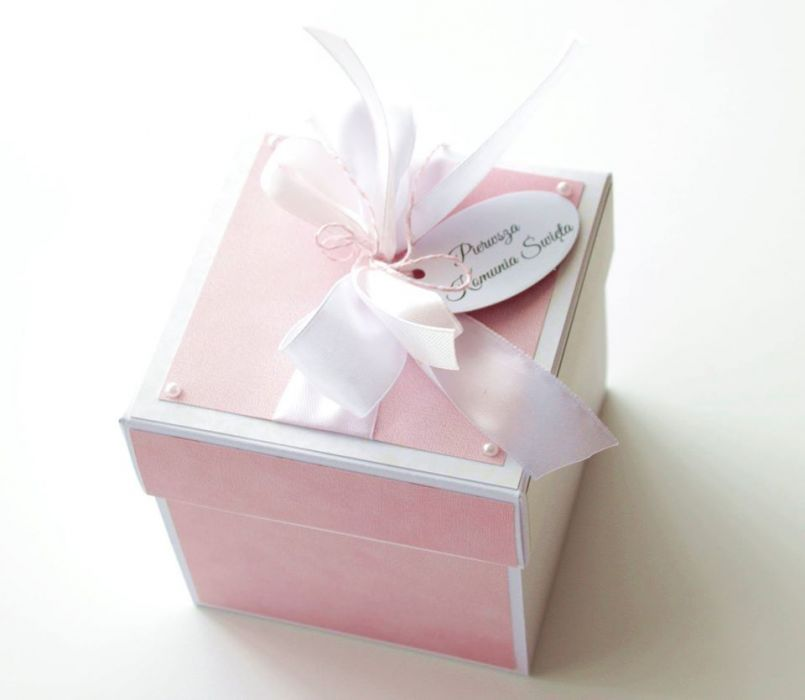 Pudełko - exploding box - Komunia Święta 01
