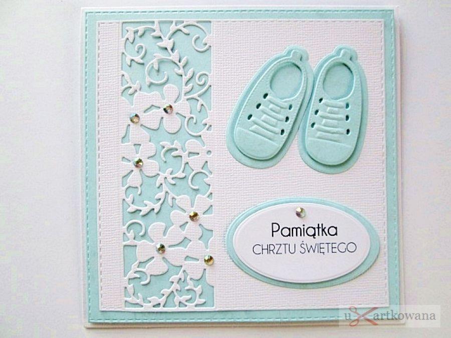 Kartka PAMIĄTKA CHRZTU biało-niebieska #2 /Z - Biało-niebieska kartka na Chrzest Święty