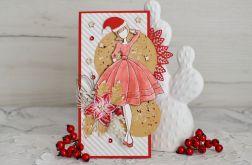 Kartka świąteczna z Mikołajką czerwona