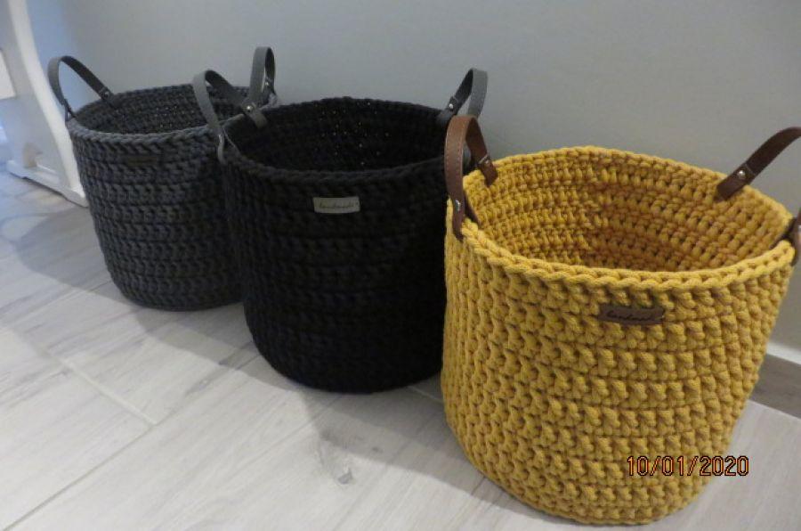 Koszyk ze sznurka z uchwytami czarny -