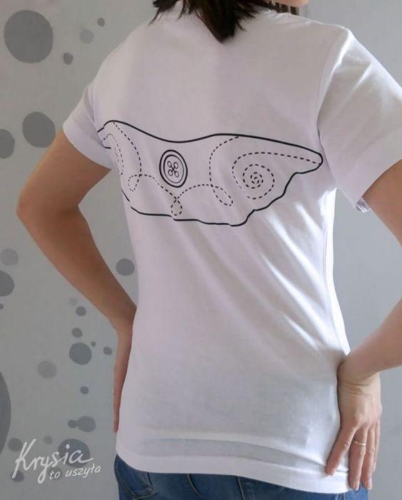 Anielska koszulka ze skrzydłami biała S