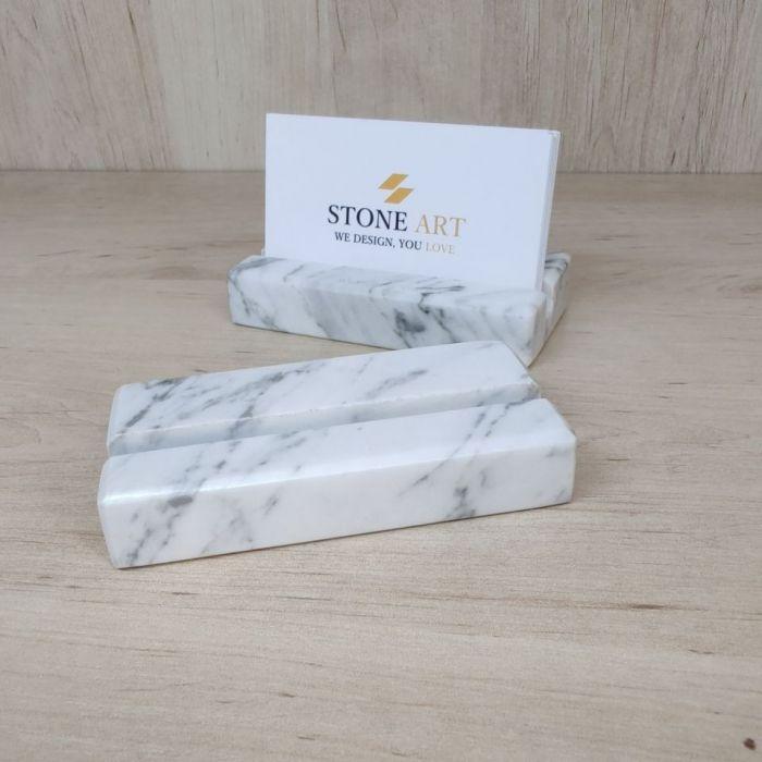 Wizytownik z marmuru Bianco Carrara 10x5cm -