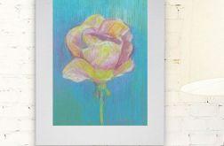 Rysunek kwiat na szarym tle nr 11 szkic kolor