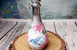 Srebrna szklana karafka kwiaty ptaszek