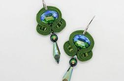 Zielone kolczyki sutasz z perłami Swarovski
