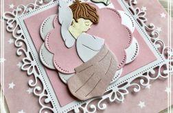 Kartka pastelowa-Chrzest Święty-dziewczynka