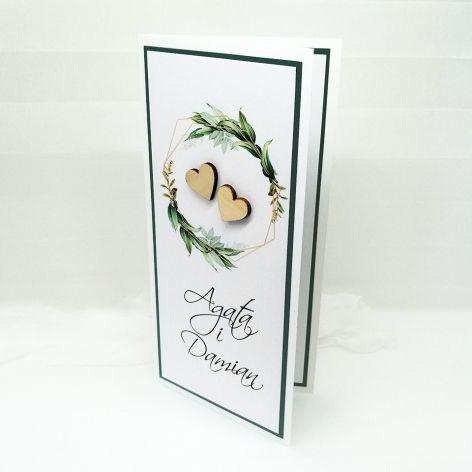 Kartka na ślub skromna zielone liście