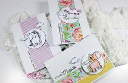Zestaw 3 kartek z jednorożcami