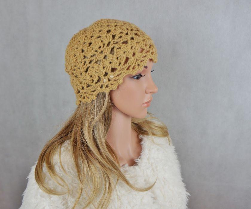 Czapka wełna beżowa - czapka ręcznie robiona