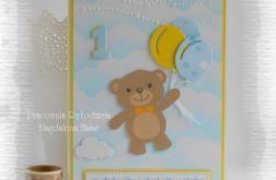 Kartka urodzinowa z misiem, niebieska