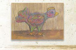 Ptaszek 34- obrazek dekoracyjny, rustykalny