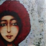 Niebieski  Anioł z warkoczem- obraz na desce - widok na twarz