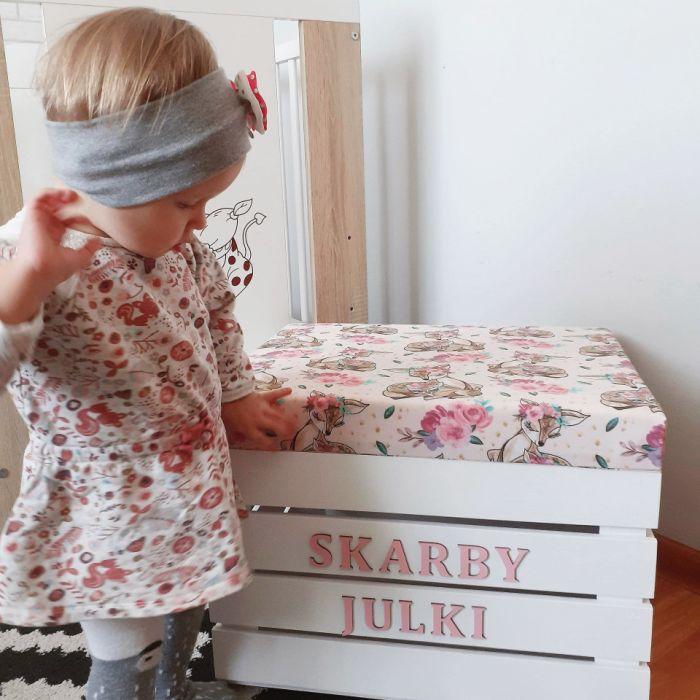 Skrzynka pudełko na zabawki z siedziskiem - skrzynia na zabawki sarenki boho