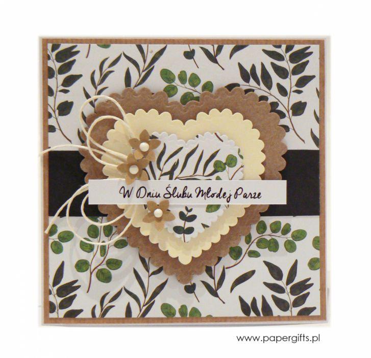Kartka ślubna serca i liście w stylu boho - Kartka na ślub z gałązkami