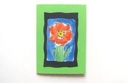 Kartka zielona z kwiatkiem nr 27